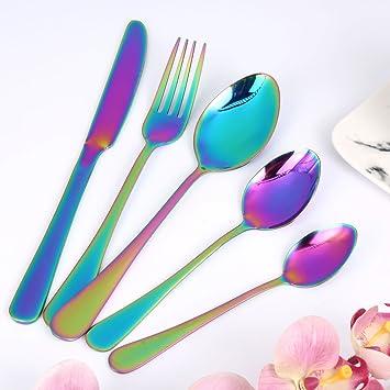 Wanxida 5 piezas Vistoso Romántico Servicio de Mesa Rainbow Flatware Set Boda Viajar Cuberteria Acero inoxidable Cuchillo de cena Cuchara de sopa de tenedor ...