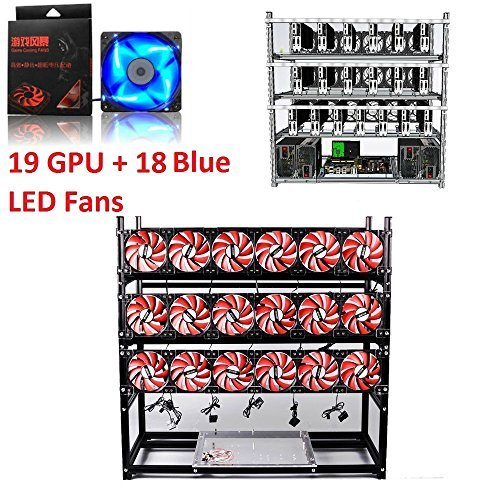 Open Air Mining Rig Stackable Frame 19 GPU Case With 18 Fans For ETH Z Cash (Black, Blue LED Fans)