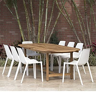 Amazonia Extendable Oval Miami Patio Dining Set, 9 Piece White - Table Dimensions: 71Lx43Wx29H. Extended Length: 93 Chair Dimensions: 22Lx18Wx31H Chair Seating Dimensions: 16L x 16W x 18H Set Includes: 1 Extendable Oval Table and 8 Chairs Table has 2-inch umbrella hole - patio-furniture, dining-sets-patio-funiture, patio - 61JMYVDUjlL. SS400  -