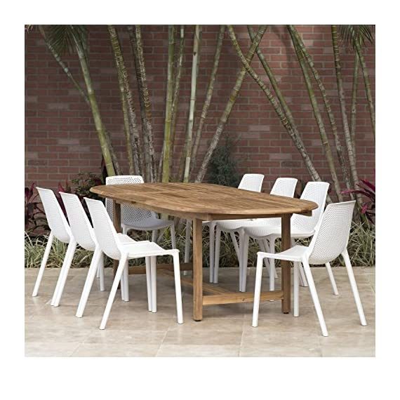 Amazonia Extendable Oval Miami Patio Dining Set, 9 Piece White - Table Dimensions: 71Lx43Wx29H. Extended Length: 93 Chair Dimensions: 22Lx18Wx31H Chair Seating Dimensions: 16L x 16W x 18H Set Includes: 1 Extendable Oval Table and 8 Chairs Table has 2-inch umbrella hole - patio-furniture, dining-sets-patio-funiture, patio - 61JMYVDUjlL. SS570  -