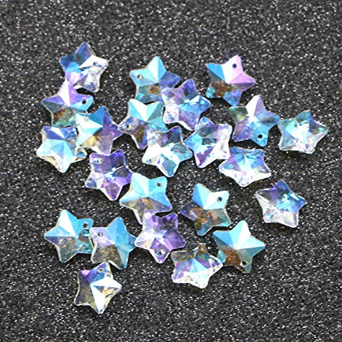 Monrocco 50Pcs Star Beads AB Color Clear Handmade Star Glass Pendants Charms Loose Bead for Craft Projects Jewelry Making -