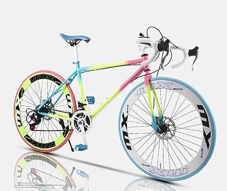 XHCP Bicicleta de Carreras de Carretera, Bicicletas de 26 Pulgadas y 24 velocidades, Freno de Doble Disco, Cuadro de Acero de Alto Carbono, Carreras de Bicicletas de Carretera, Hombres y Mujeres: Amazon.es: