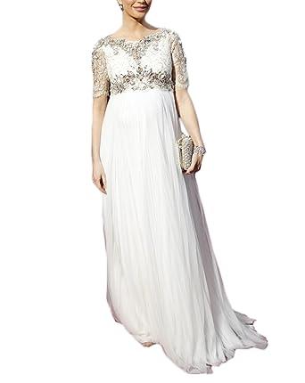 Ri Yun Womens White Long Maternity Dresses For Baby Shower 2018