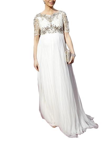 Ri Yun Women S White Long Maternity Dresses For Baby Shower 2018