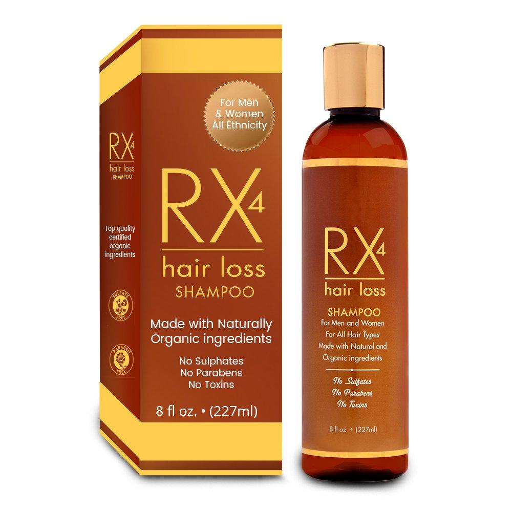 RX 4 Hair Loss Shampoo for Hair Loss Prevention in Men/Women. Natural, Organic Treatment.Stop Hair Loss By Blocking DHT the main cause of Alopecia. Guaranteed. Free Hair Loss Guide