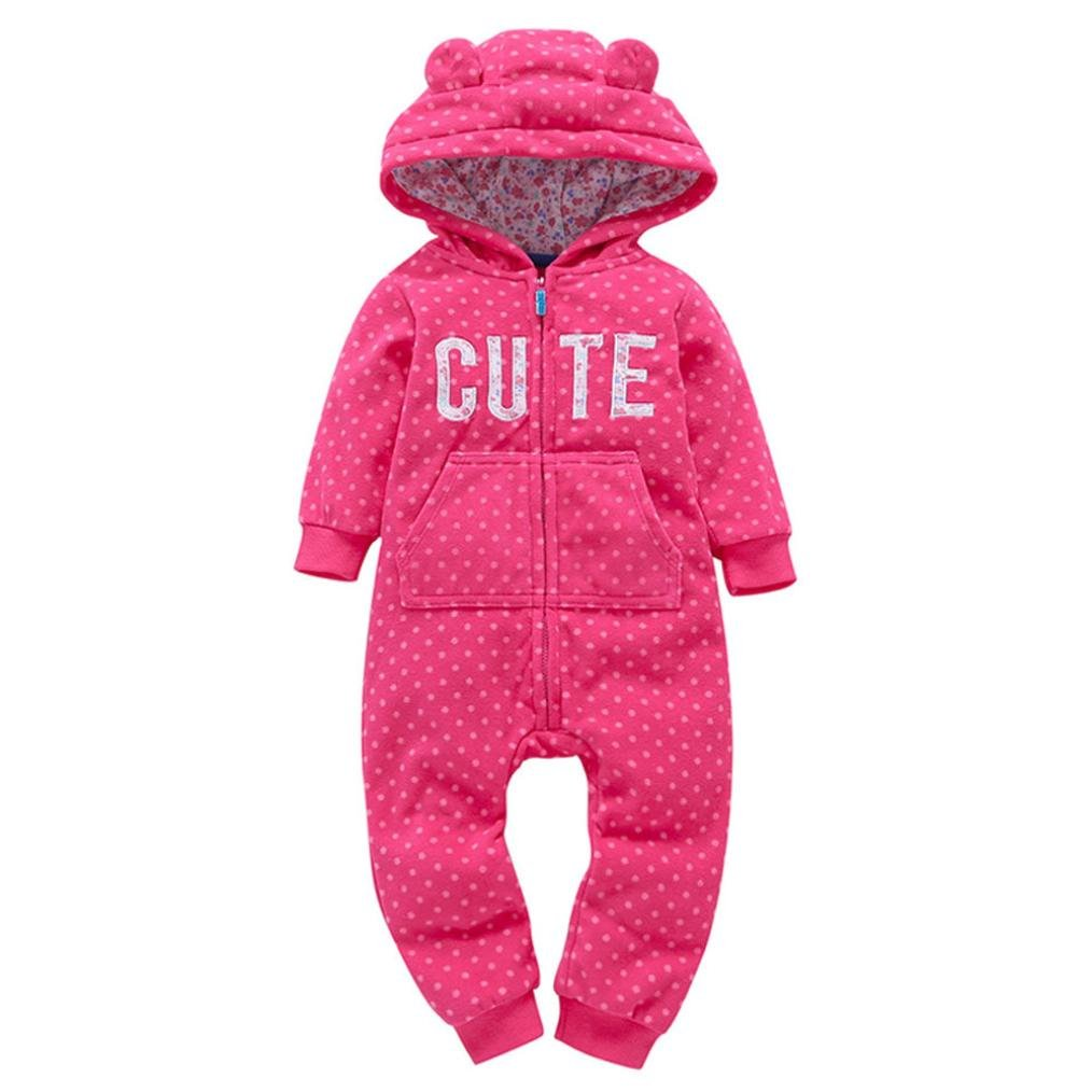 Baby Winter Coat, Egmy Cute Infant Baby Boys Girls Thicker Grid Hooded Romper Jumpsuit Outfit Kids Clothes (9M, Hot Pink)