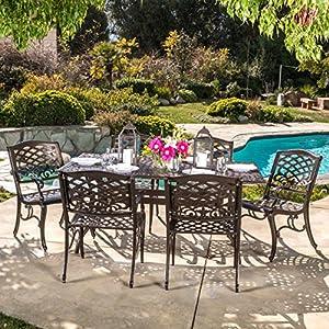 Odena Patio Furniture | 7 Piece |Outdoor Dining Set | Cast Aluminum |  Rectangular Table | Hammered Bronze Finish