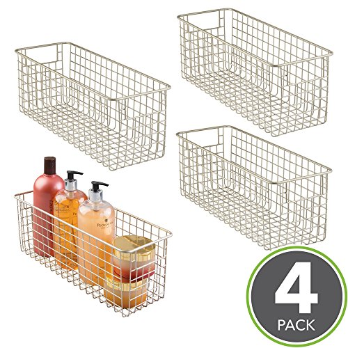 """Price comparison product image mDesign Bathroom Steel Wire Storage Organizer Bin Baskets with Built-In Handles, Grid Design - for Cabinets, Shelves, Closets, Countertops and Bedrooms, Kitchens - 16"""" x 5"""" x 6"""", Pack of 4, Satin"""