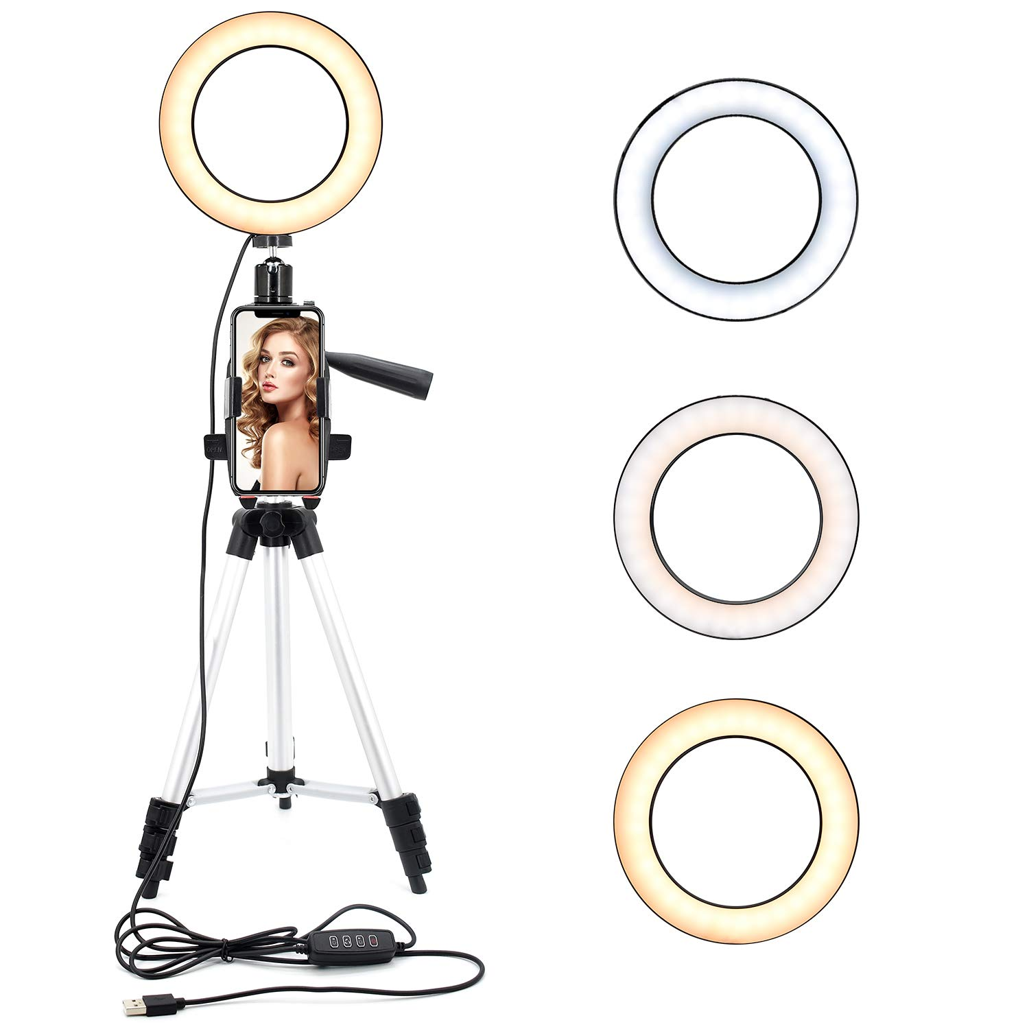 ASAKUKI 6.3'' Ring Light with Tripod Stand and Phone Holder for Selfie Pictures, YouTube Videos, Makeup Application, Streaming LED Ring Light with 11 Brightness Levels &3 Lighting Modes
