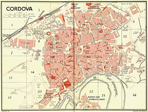 España. Cordoba Córdoba Old Antiguo Mapa Vintage – 1929 – Juego de funda nórdica Mapas de España: Amazon.es: Hogar