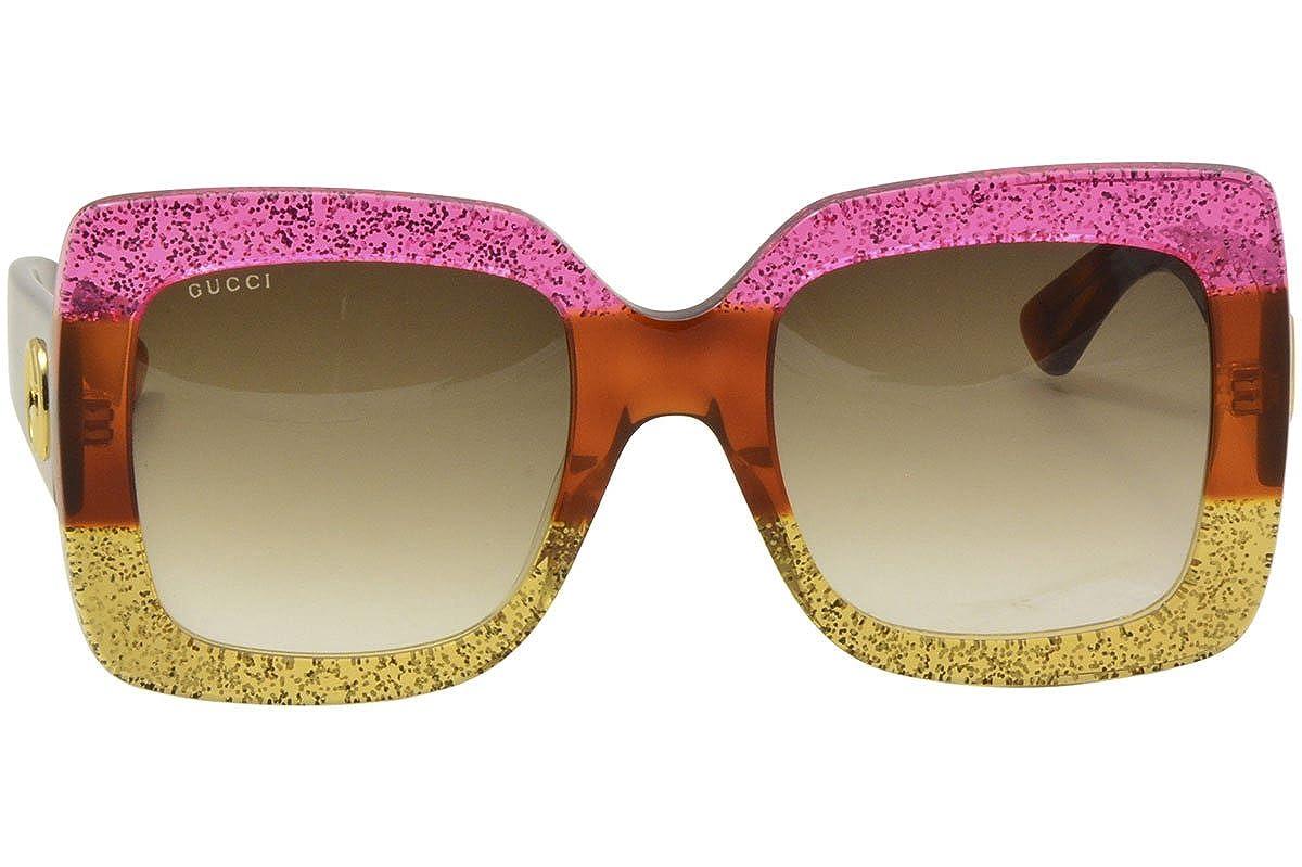 Gucci Damen Sonnenbrille GG0083S 002, Pink (Fuchsia/Brown), 55