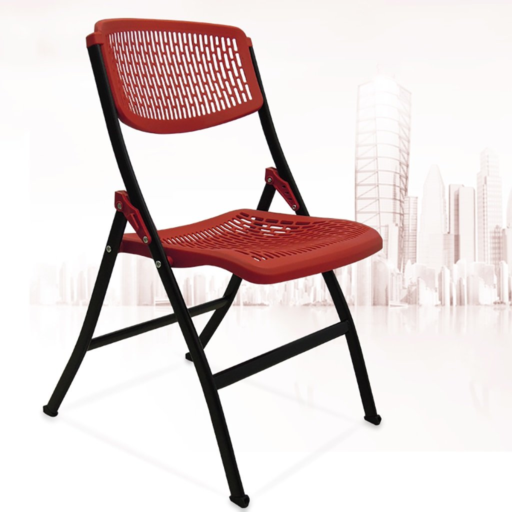 Red Chair Folding Chair Meeting Chair Folding Office Chair Backrest Folding Chair Simple Home Student Computer Chair (color   Red)