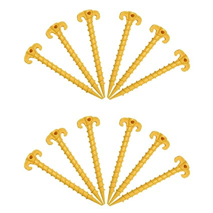 Amazon.com  Gizhome 12 Pack Outdoor Tent Stakes Screw Spiral Tent Peg Nail Ground Anchor Pegs Heavy Duty Screw Style - 20 cm/7.9 inch (Yellow)  Garden u0026 ...  sc 1 st  Amazon.com & Amazon.com : Gizhome 12 Pack Outdoor Tent Stakes Screw Spiral Tent ...