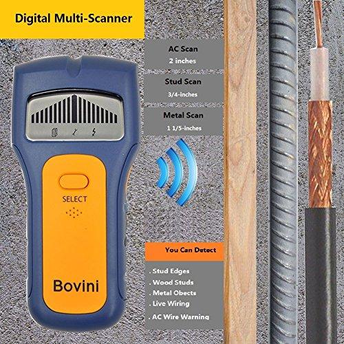 Stud Finder - Bovini MultiScanner Stud Sensor - Digital Wall Stud Finder Wood - Electronic Wall Scanner with Live AC WireWarning Detection Deep Scanning for Live AC Wire, Metal, Studs by Bovini (Image #2)