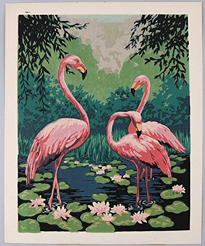 Vintage c. 1940s Original Art Deco Antique Silkscreen Pochoir Fine Art Colorful Print Pink Flamingos Huddled in Pond with Lily Pads (Pink Silkscreen)