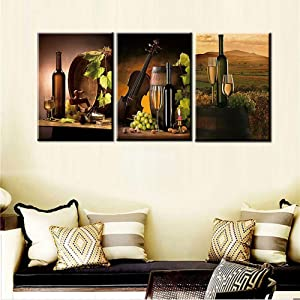 Living Room Decorations for Wall Wooden Barrel and Fruits Pictures Wine Bottle Pintings 5 Piece Canvas Wall Art Modern House Decor Vintage Artwork Framed Ready to Hang Posters and Prints(48''Wx24''H)