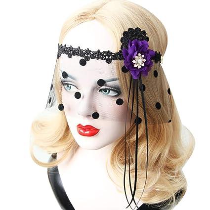 Black Half Face Lace Veil Mask Halloween Headband Masquerade Party Cosplay Decor