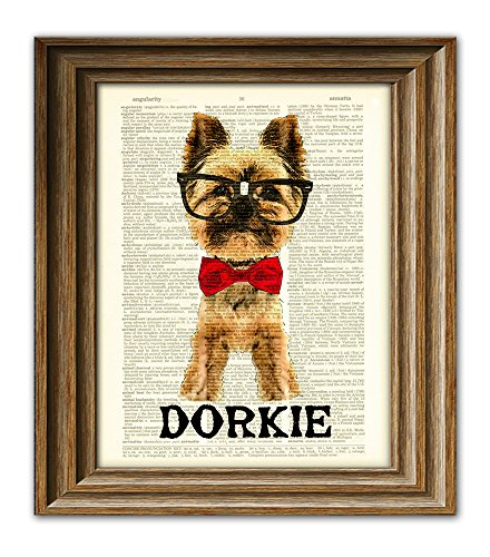 Yorkshire Terrier Art (This Dorky Yorkie is Dorkie Yorkshire Terrier dog with glasses and bow tie vintage dictionary page book art print)