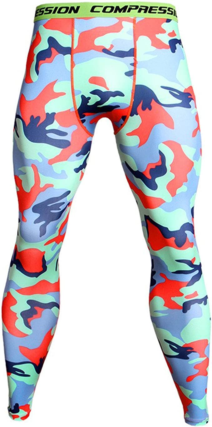 Mens Thermal Gym Sport Tight Compression Base Layer Pants Camo Leggings Trousers