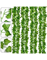 Leiwo 12 Pack 84 Ft Artificial Ivy Vine Plants Hanging Leaves Plant Greenery Decor Party Home Garden Wedding Wall Decor (Green)