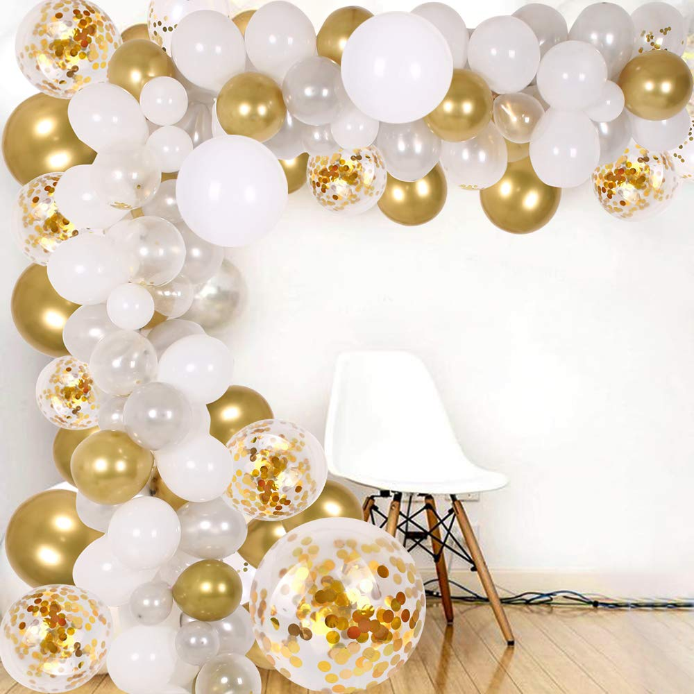 DIY Balloon Arch & Garland kit, 138Pcs Party Balloons Decoration Set, Gold Confetti & Silver & White & Transparent Balloons for Baby Shower, Wedding, Birthday, Graduation, Anniversary Organic Party