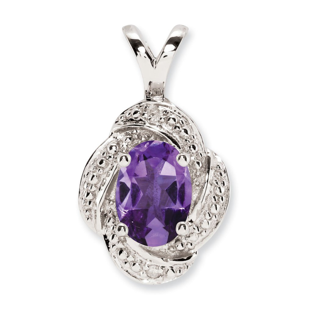 West Coast Jewelry Sterling Silver Diamond and Amethyst Pendant