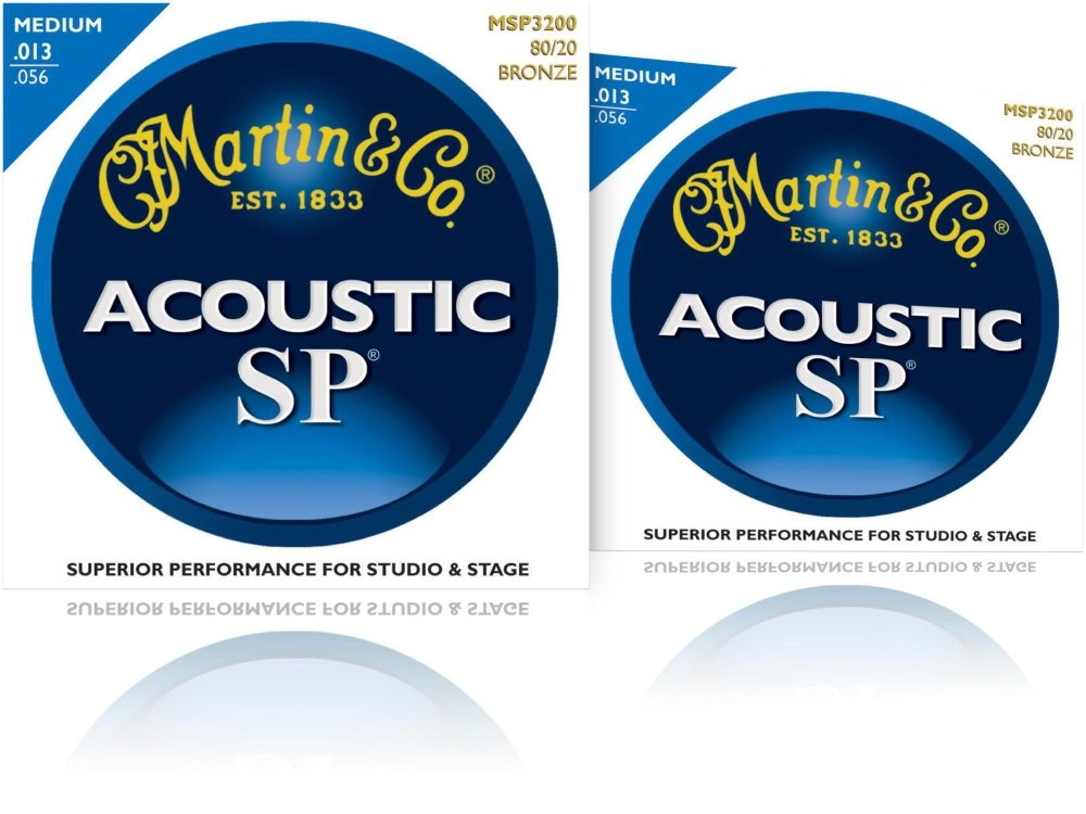 Martin MSP3200 SP 80/20 Bronze Medium Acoustic Guitar Strings 2 Pack (Standard) MSP3200-2PK