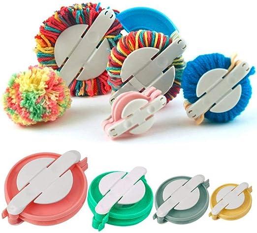 4 Piece Plastic Pom Pom Makers Set Pom-Pom Making Kit Multi Pack Make Pompoms