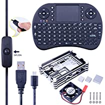 Kuman 6 in 1 Professional Kit for Raspberry Pi 3 2 B and Pi B+black Sliced 9 Layers Case Box + Cooling Fan + Wireless Mini Keyboard + 2pcs Micro USB Cable (one with Turn/on Switch)+Heat Sinks SC03 (Rasperry Pi Case +Keyboard)