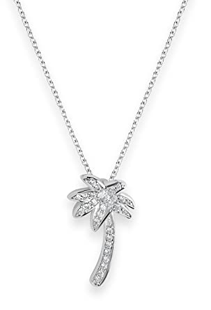 Amazon sterling forever 925 sterling silver cz palm tree sterling silver cz palm tree necklace pendant as seen in fools gold 16 inches aloadofball Images