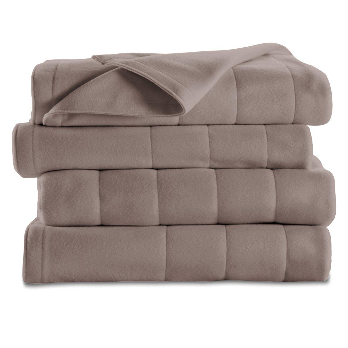 Sunbeam Quilted Fleece Heated Blanket, King, Mushroom, BSF9GKS-R772-13A00