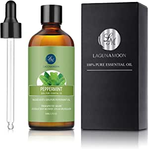 Lagunamoon Peppermint Essential Oil, Organic Essential Oil for Diffuser, Skin, Candles with Glass Dropper - 3.3oz