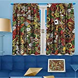 Mikihome Solid Grommet top Thermal Insulated Window Blackout Curtains Doodles Style Art Bingo Excitement Checkers King Tambourine Vegas Dining Room 55'' W x 72'' L