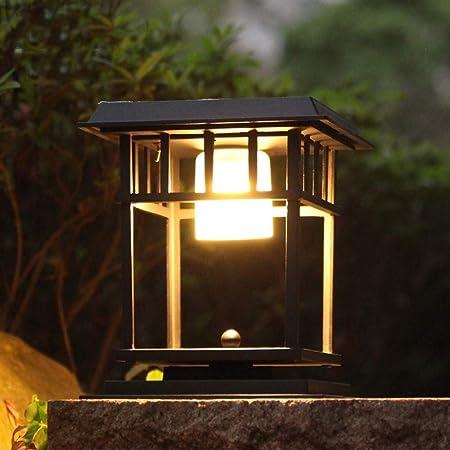 Reisx Plaza de Pilar lámpara solar del jardín clásico paisaje post linterna al aire libre impermeable brillante estupendo solar residencial exterior a prueba de lluvia Patio Farola Balcón Puerta de il: Amazon.es: