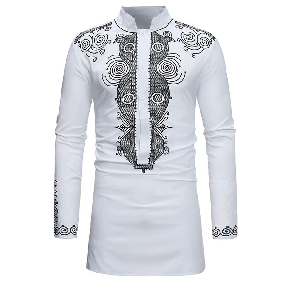 2018 Latest Hot Style!!! Teresamoon Men's Autumn Winter Luxury African Print Long Sleeve Dashiki Shirt Top Blouse Teresamoon-Shirt