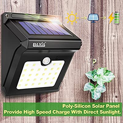 BAXIA TECHNOLOGY Solar Lights Outdoor, Wireless LED Solar Motion Sensor Lights,Waterproof Security Lights for Outdoor Gate,Deck,Step,Wall,Yard,Fence,Patio,Garden,Driveway