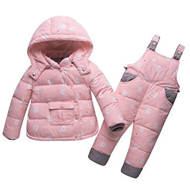 93d017c00 CADong Unisex Baby Toddler Winter Snowsuit,Two Piece Puffer Down Snowsuit  Hooded Jacket with Snow