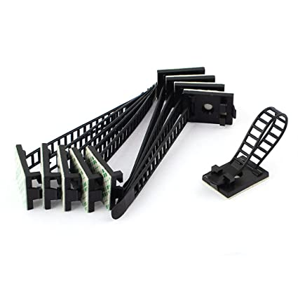Amazon.com: uxcell 10pcs Adhesive Backed Black Wire Clip Cable Clamp ...
