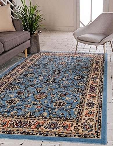 Unique Loom Kashan Collection Traditional Floral Overall Pattern with Border Light Blue Area Rug (8' 0 x 10' 0)