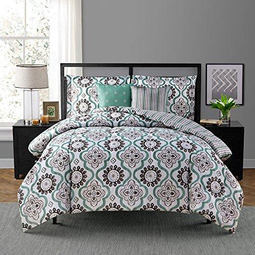 Style Domain OZR02UA37GYT Tanya 5Piece Comforter Set, Queen,Grey/Teal,Queen 86