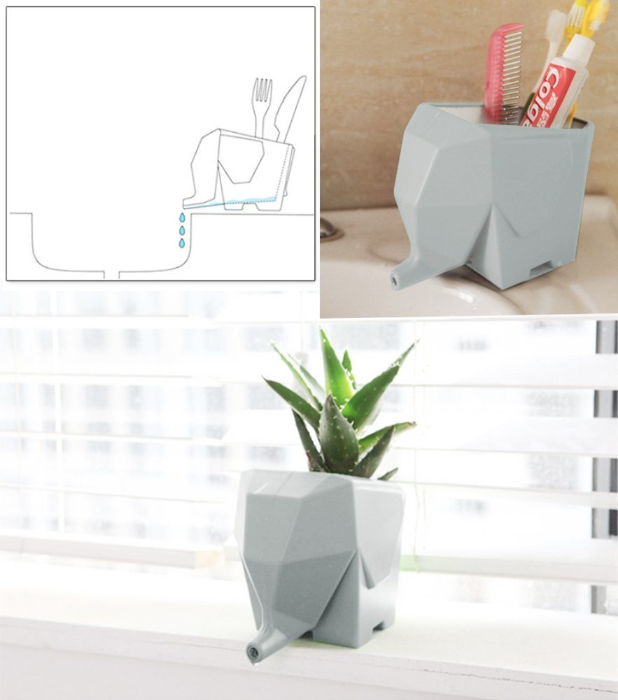 Agile-Shop Cute Elephant Design Plastic Cutlery Drainer Storage Holder Box for Home Kitchen, Bathroom, Toothbrush, Small Knife Accessories (Gray) by Agile-shop (Image #7)
