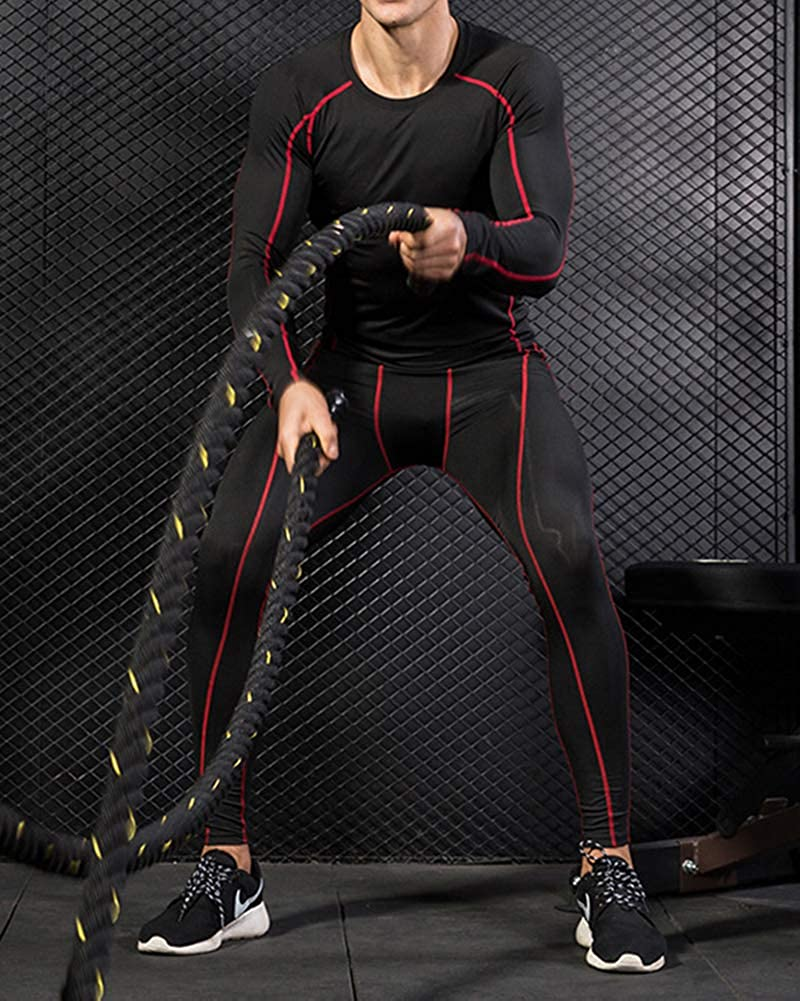 Mens 2pcs Sports Gym Fitness Clothing Set Long Sleeve T Shirts+Slim Fitting Compression Pants for Workout Training Running Tracksuits