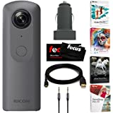 Ricoh THETA V 360 4K Spherical VR Camera with Auxiliary Cable and and Video Editing Software Bundle