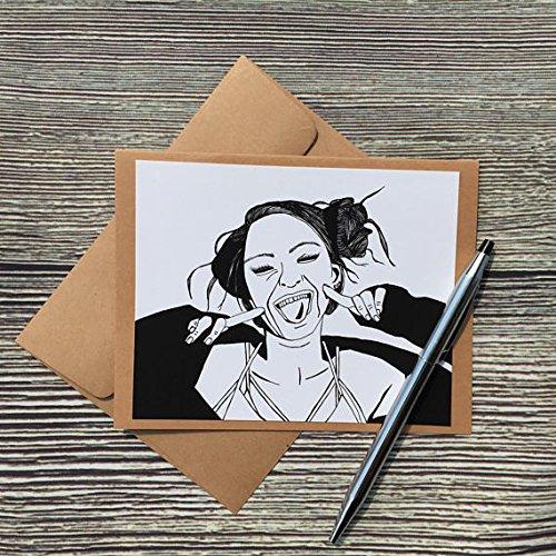 Raspberry Original Ink Drawing Print Kraft Note Card