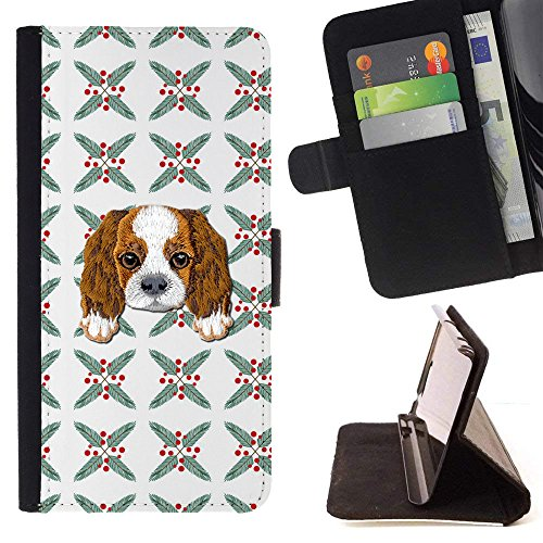 ([ Cavalier King Charles Spaniel] Embroidered Cute Dog Puppy Leather Wallet Case for LG V30 [ Random Modern Figures Pattern ])