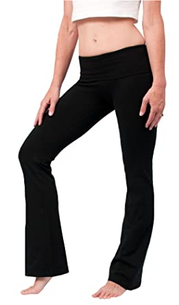 4919752f37e86 Amazon.com: Hard Tail Foldover Bootcut Yoga Pants - Black: Clothing