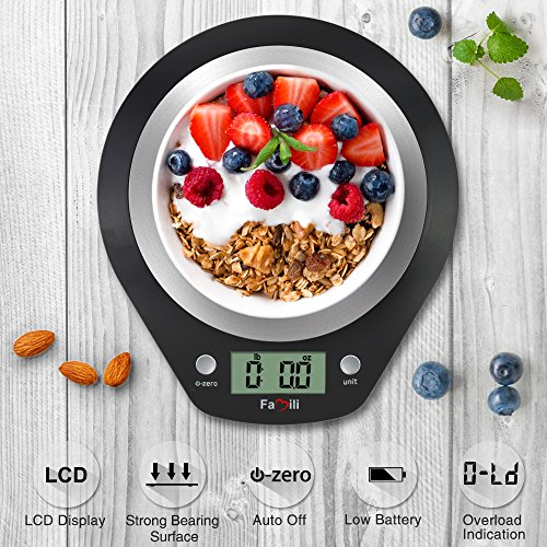 Famili Digital Kitchen Scale Precise Multifunction Electronic Food Scale with Stainless Steel Platform,11lbs/5kg(Battery Included),Black