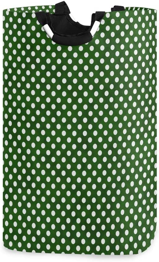 ALAZA Hunter Green and White Small Polka Dots Large Laundry Hamper Bag Collapsible with Handles Waterproof Durable Clothes Round Washing Bin Dirty Baskets Organization for Home Bathroom Dorm College