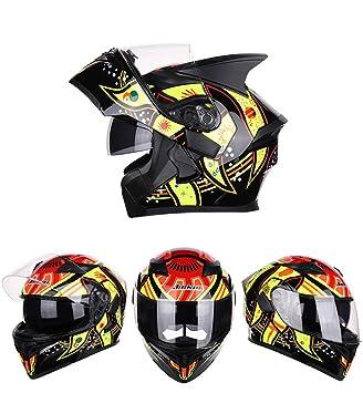 Goolife Casco Moto Full Face Casco Moto Visera Doble Parasol para Hombre Adulto Mujer,M