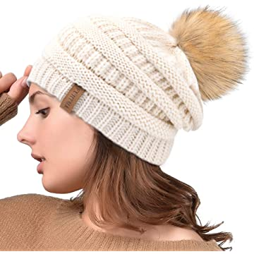 9b4d47b9758 Winter Real Fur Pom Beanie Hat Warm Oversized Chunky Cable Knit Slouch Beanie  Hats for Women